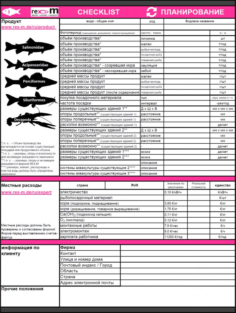 REX-M checklist - производственное планирование УЗВ
