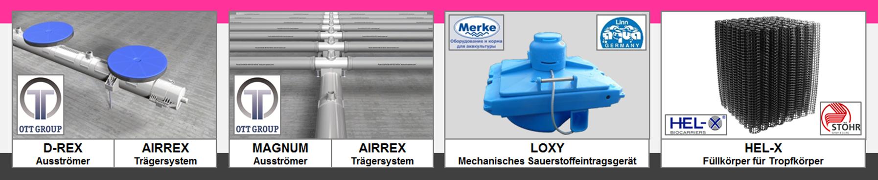 REX-M Belüftung Kreislaufanlage Sauerstoffversorgung Entgasung Aquakultur RAS