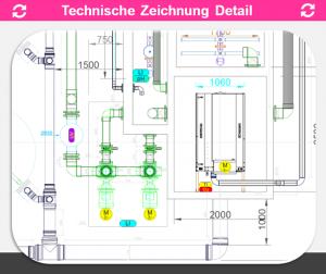 REX-M Technische Zeichnung Detail Kreislaufanlage 2-D ACAD dwg Machinen, Behälter, Rohrleitung Fischzucht Aquakultur